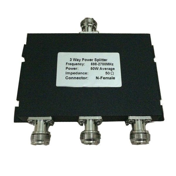 698-2700MHz N 50W 3 Way Power Splitter